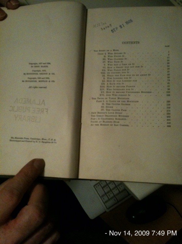 Bret Harte library book - checked out in 1905