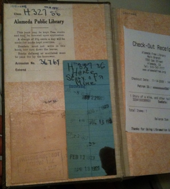 Bret Harte library book - old check-out dates
