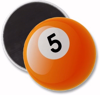 Number five on a billiards ball