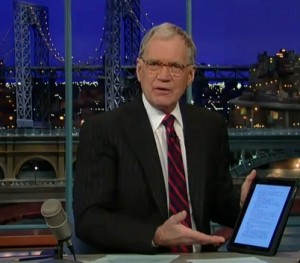 David letterman vs. the iPad and Kindle