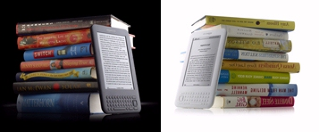 Kindle - white vs graphic (vs a stack of books)