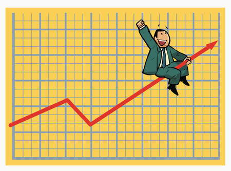 Cartoon stock market chart showing Sales are going up