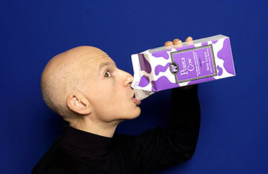 Author blogger Seth Godin drinking a milk cartoon