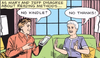 Mary Worth comic strip and Jeff with Kindle