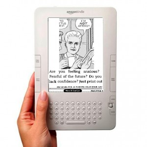 Mary Worth comic srip inside a Kindle