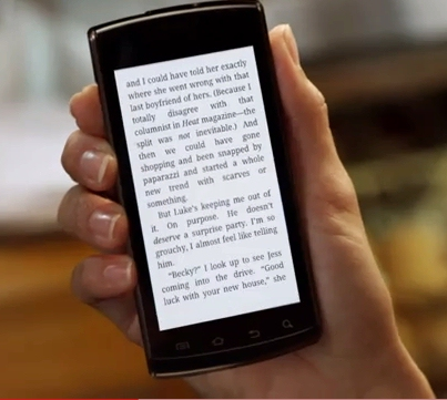 Picture of ebook on the iPhone from Amazon Kindle app television ad