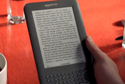 Screencap of ebook in the Amazon Kindle coffee shop TV ad