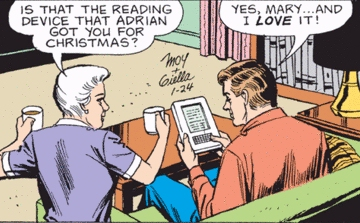 The Amazon Kindle appears in the Mary Worth newspaper comic strip