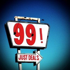 Sale for 99 on a sign