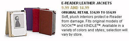 Tuesday Morning April newspaper ad for M-Edge Kindle leather jacket