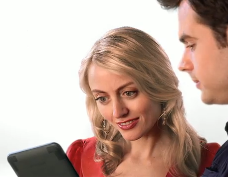 Amy Rutberg and Boy from new Kindle bookstore commercial