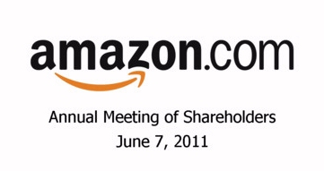 Amazon logo for shareholder's meeting