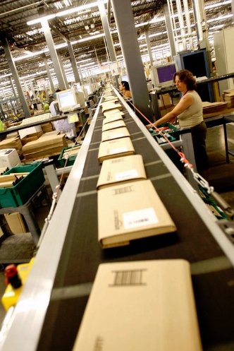 Kindle package manufactured on Amazon assembly line