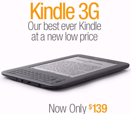 Kindle 3G with Special Offers - an Amazon sale discount of 139