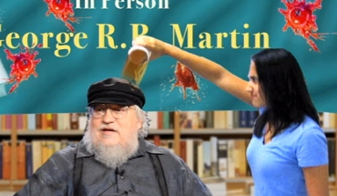 Coffee dumped on George R R Martin at a bookstore (Daily Show)