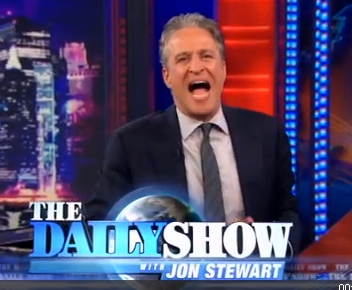 Jon Stewart shouts over The Daily Show logo