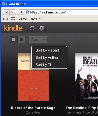 Screenshot of Amazon Kindle Cloud Reader on Apple's Safari Browser