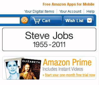 Amazon front page tribute after death of Steve Jobs