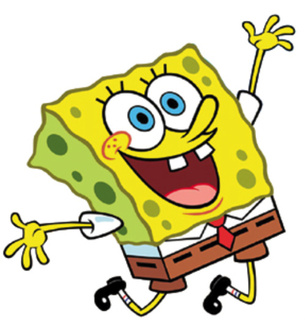 Happy SpongeBob Squarepants smiling and jumping