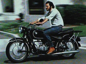 Steve Jobs on a motorcycle