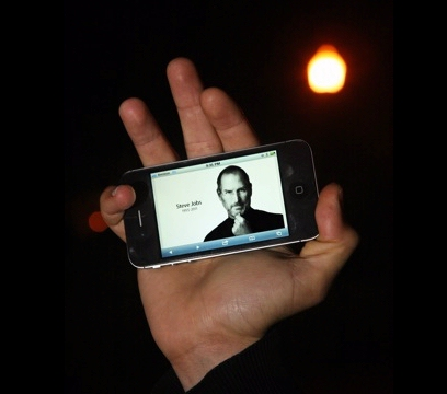 Steve Jobs on an iPhone