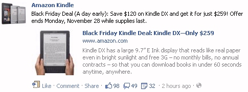 Black Friday Kindle sale announced on Facebook