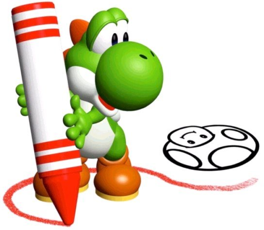 Yoshi drawing with a crayon