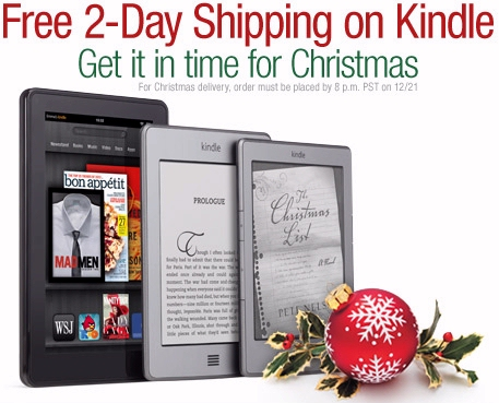 Amazon offers free shipping on Kindles for Christmas