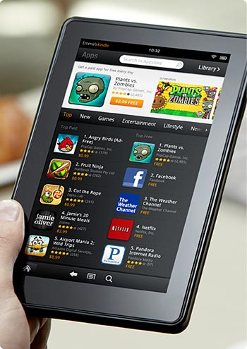 Amazon Kindle Fire tablet plays apps
