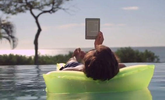 Kindle on beach mattress