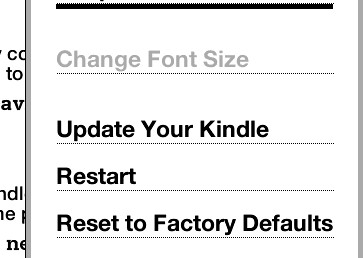 Screenshot of update your Kindle menu choice for new software