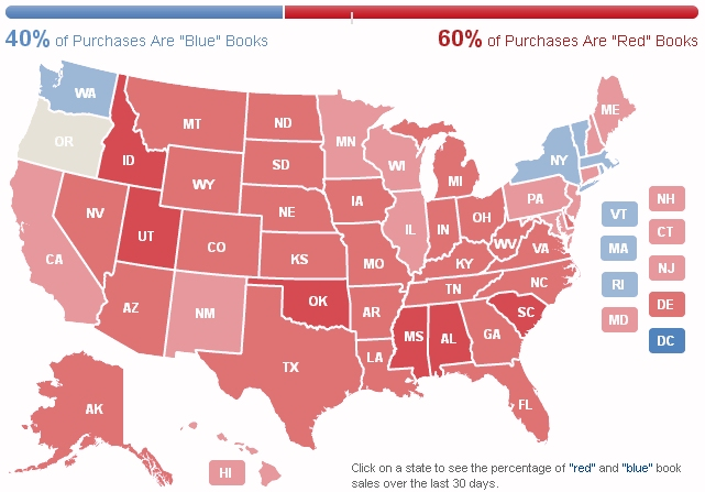 Amazon political heat map of the USA shows red states and blue states