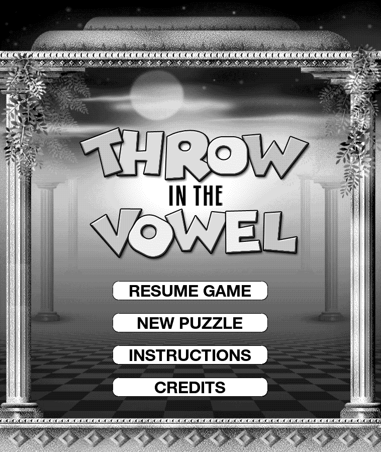 Kindle Paperwhite screenshot of Throw in the Vowel word game menu