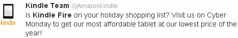 Amazon announces Kindle Fire deal on Twitter