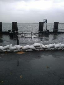 Sand bags for hurricane Sandy in New York City