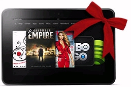 Amazon discounts the Kindle Fire HD with a red gift bow for the Christmas holiday