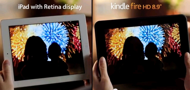 Retina comparison ad for Amazon Kindle