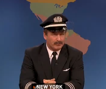 Alex Baldwin plays a pilot on Saturday Night Live