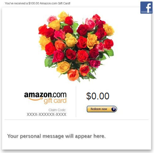 Roses on an Amazon gift card