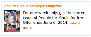 People Magazine on the Kindle