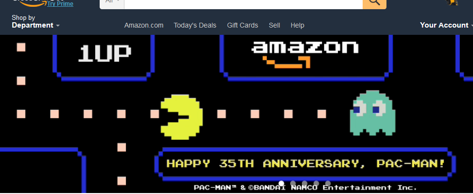 Pac-Man on Amazon's home page